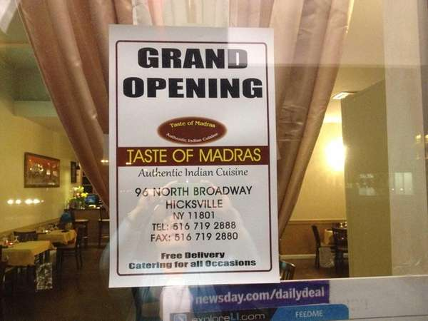 Taste of Madras, a Southern Indian restaurant, had