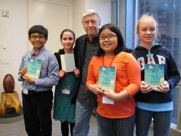 Author Jerry Spinelli with Kidsday reporters Paul Ramnauth,