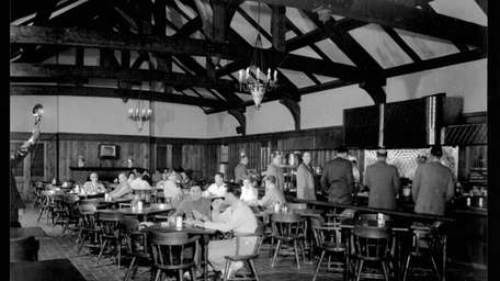 People enjoy a meal at the old cafeteria