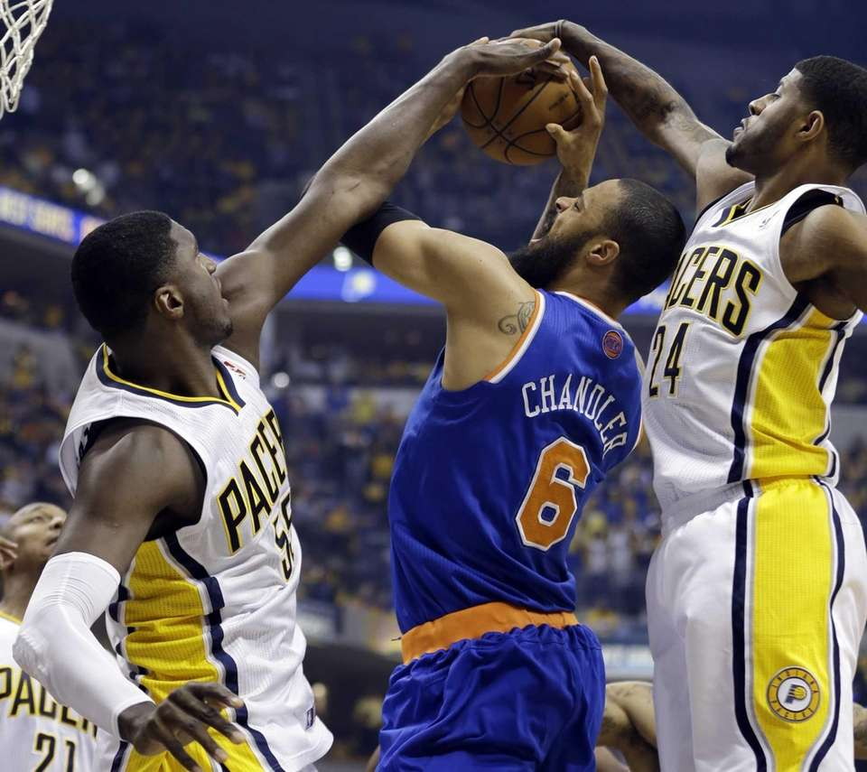 Indiana Pacers' Roy Hibbert (55) and Paul George