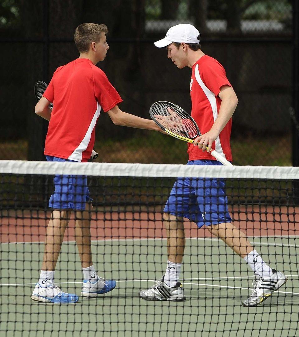 Half Hollow Hills East's doubles partners Kyle Alper,