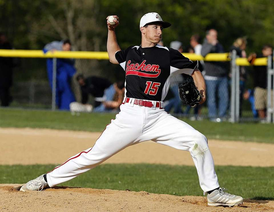 Sachem East relief pitcher Joe Pavlik delivers in