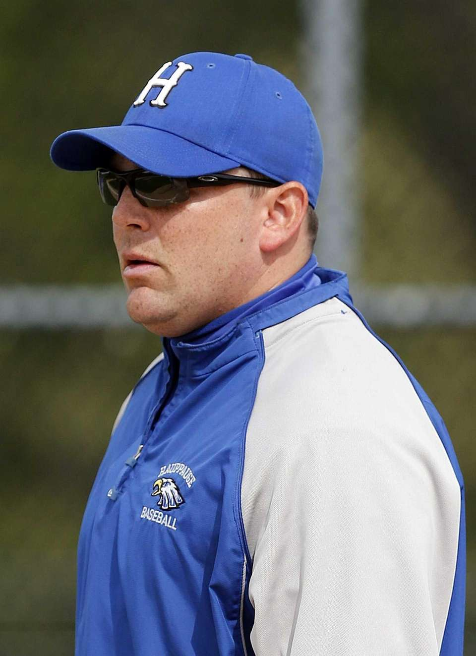Hauppauge head varsity baseball coach Kevin Giachetti watches