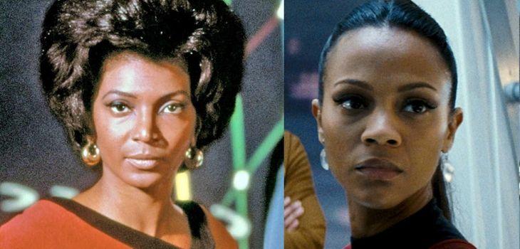 Uhura: Nichelle Nichols, Zoe Saldana