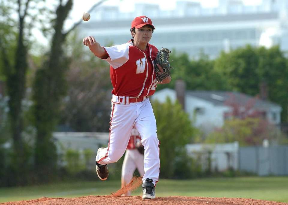 Hills West pitcher Aaron Glickstein (24) with the