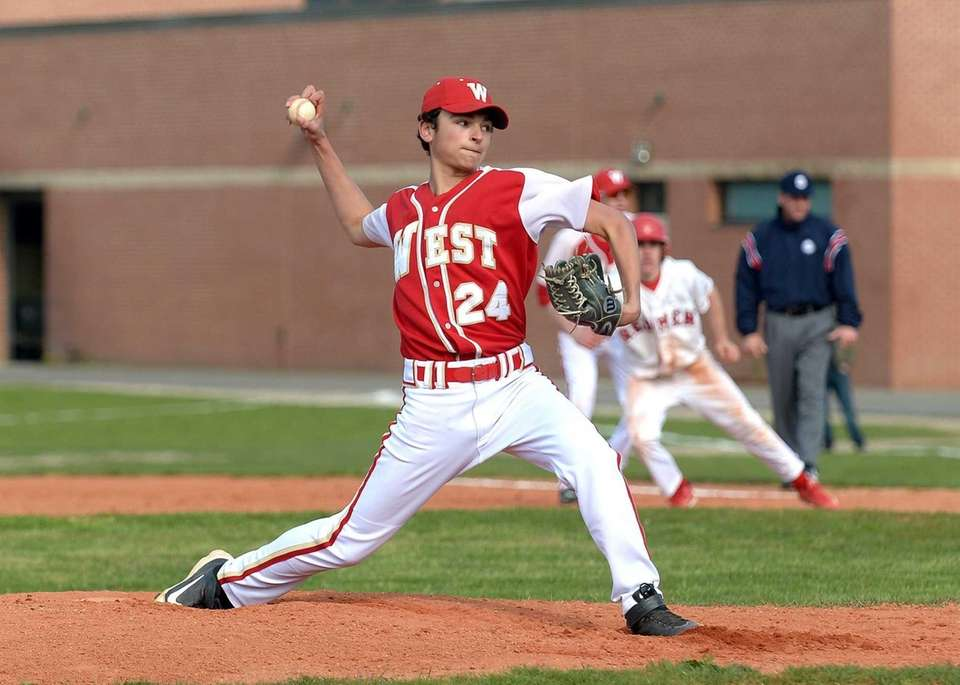 Hills West pitcher Aaron Glickstein (24) delivers a