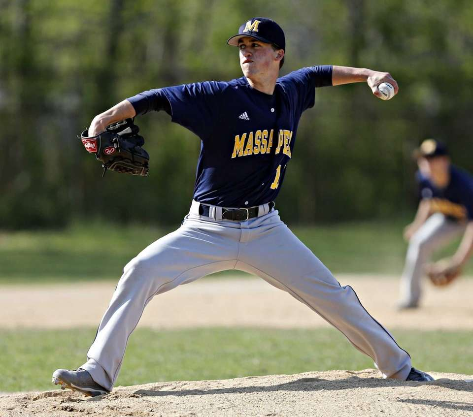 Massapequa starting pitcher Patrick Healy delivers during the