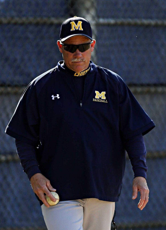 Massapequa varsity baseball head coach Tom Sheedy watches