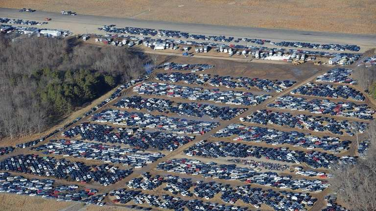 Vehicles that were damaged during superstorm Sandy were