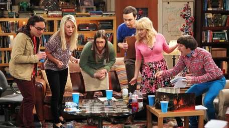 Johnny Galecki, left, and Kaley Cuoco star in