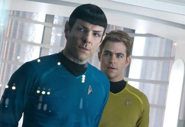 From left, Zachary Quinto and Chris Pine star