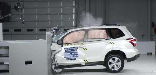 A 2014 Subaru Forester goes through a crash