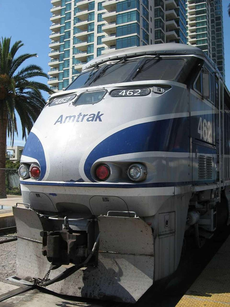 An Amtrak train rests at San Diego Union