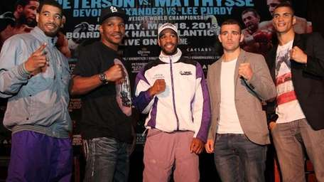 From left to right, boxers Anthony Peterson, Devon