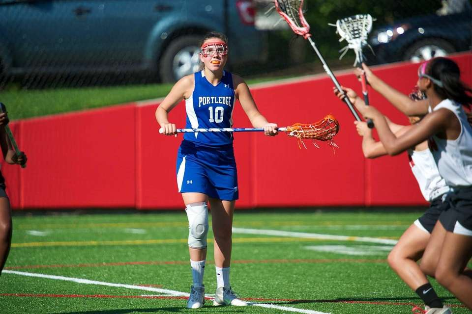 Portledge's Elizabeth Gahagan is focused while playing defense