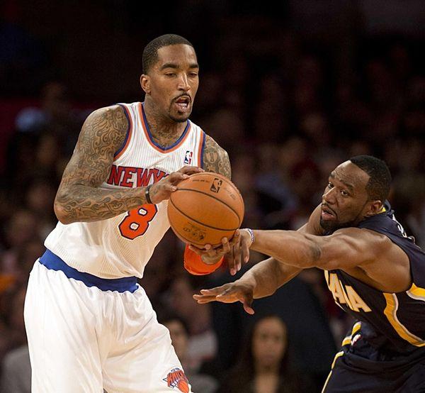 Knicks' JR Smith has the ball knocked from