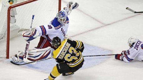 Boston Bruins left wing Brad Marchand beats Rangers