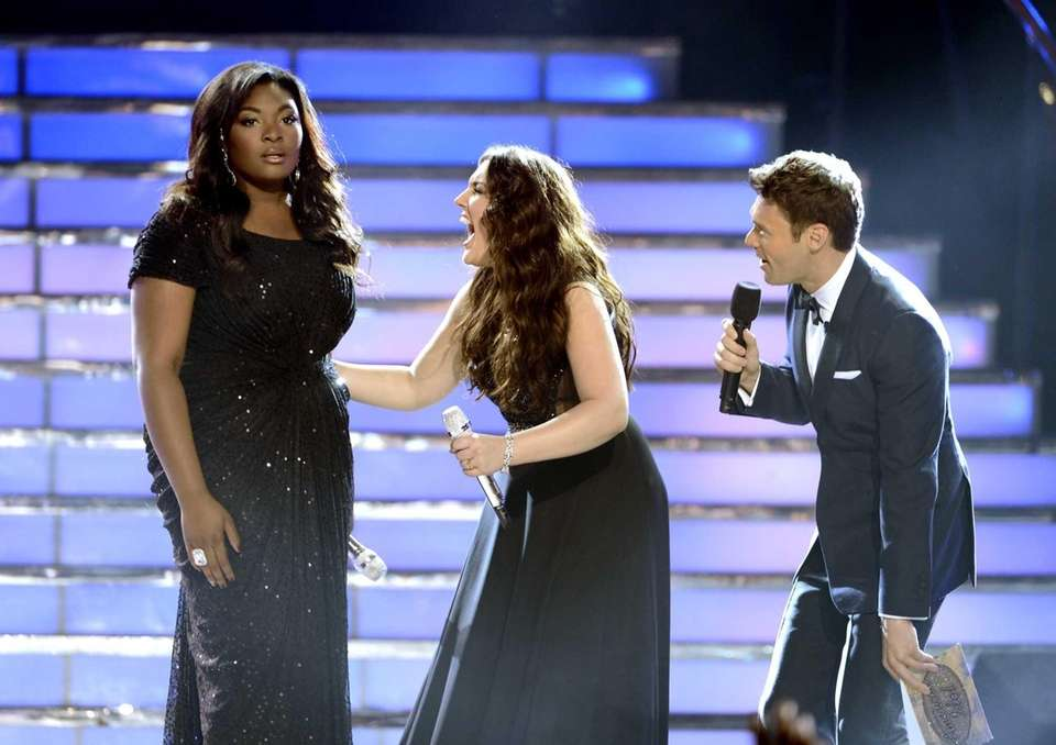 Winner Candice Glover, left, finalist Kree Harrison and