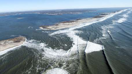The breach on Fire Island caused by superstorm