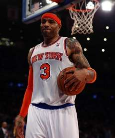 Kenyon Martin of the New York Knicks reacts