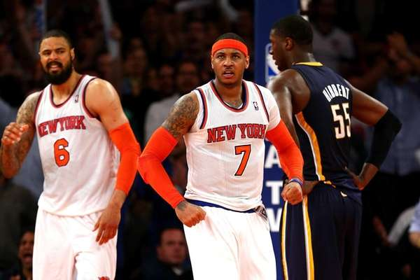 Tyson Chandler of the New York Knicks, left,