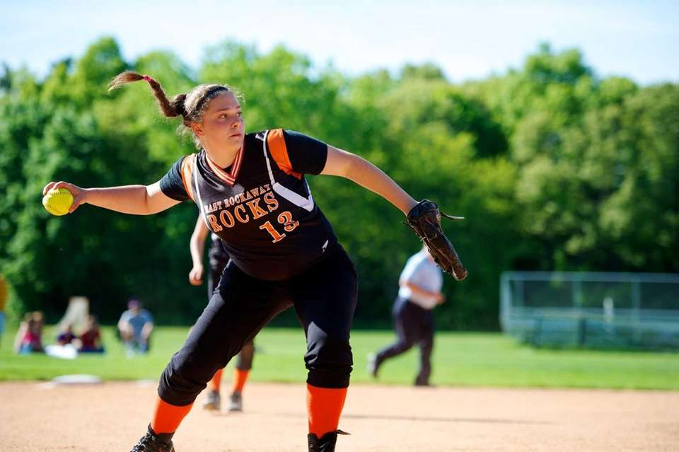 East Rockaway pitcher Gianna Cilluffo throws out a