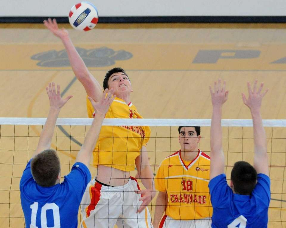 Chaminade's James McCullagh tries to spike past Kellenberg's