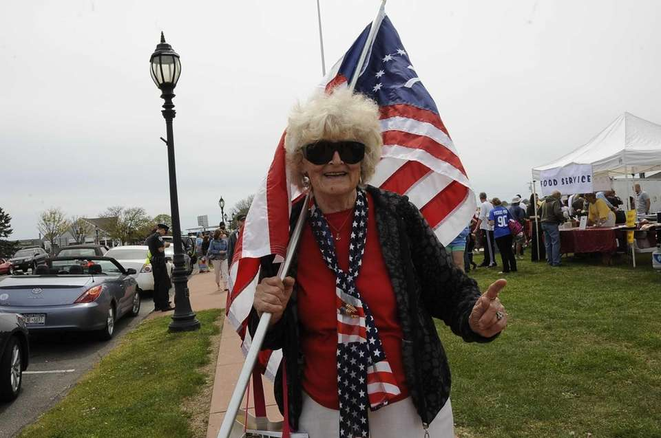 Evellyn Walles waves her flag at the Montauk