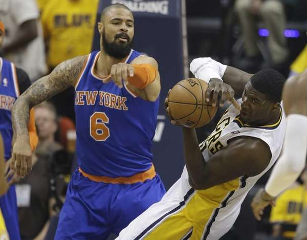 Indiana Pacers' Roy Hibbert grabs a rebound in
