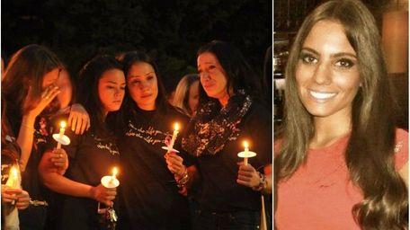 Left: Hofstra University students mourn Andrea Rebello during