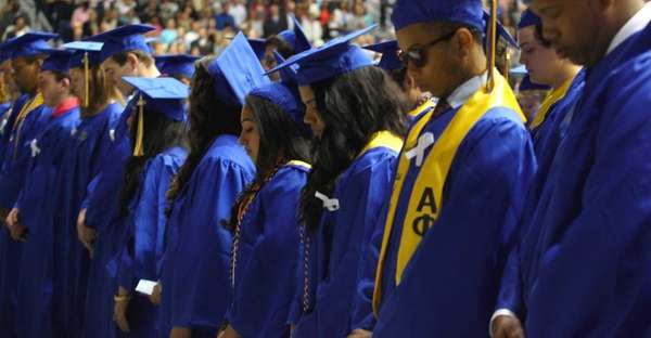 Hofstra University graduates and those in the audience