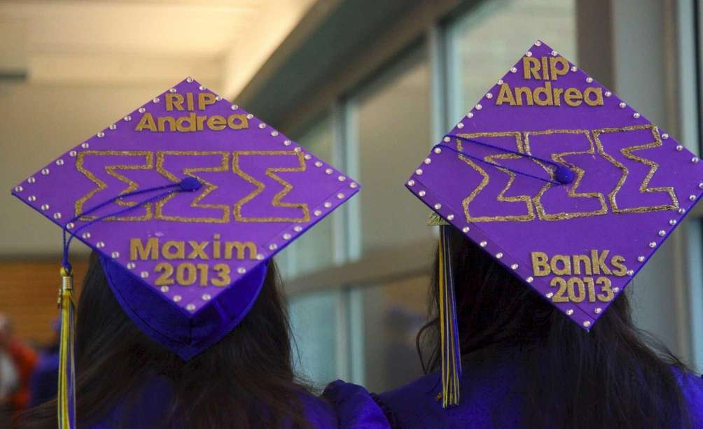 Hofstra University graduates Talia Sperandio, left, and Shannon