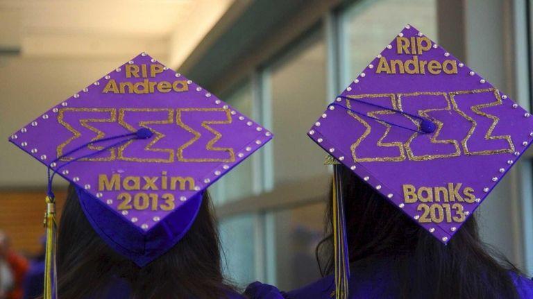 Hofstra University graduates Talia Sperandio, left, and Shannon