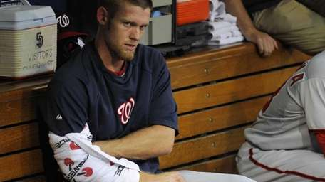 Stephen Strasburg of the Washington Nationals sits in