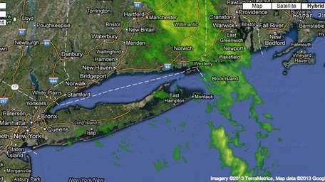 A radar image shows rain in and around