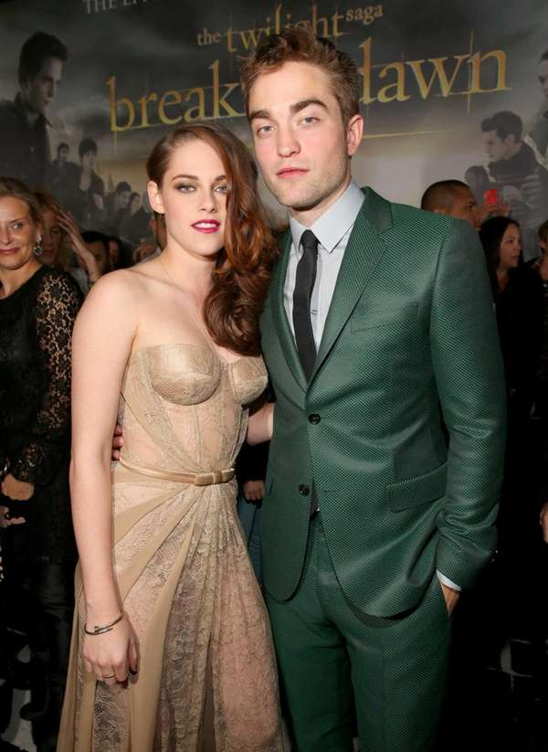Actors Kristen Stewart, left, and Robert Pattinson, right,