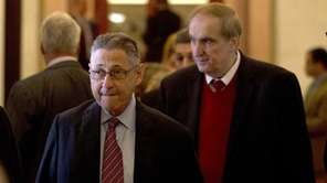Assembly Speaker Sheldon Silver, left, walks with Assemblyman