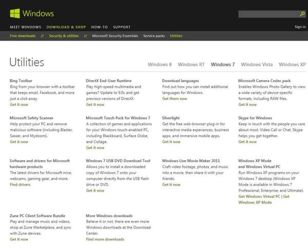 The utilities page on the Microsoft website includes