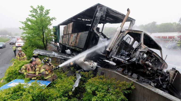 After a crash involving two trucks at Exit