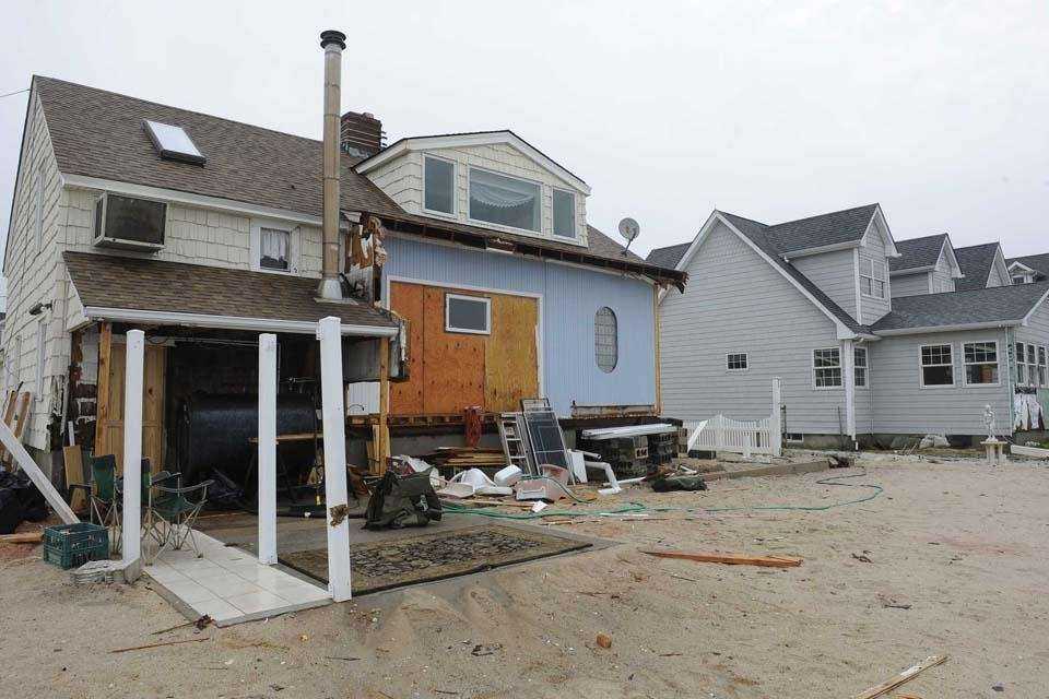 Water from Moriches Bay swept over the small