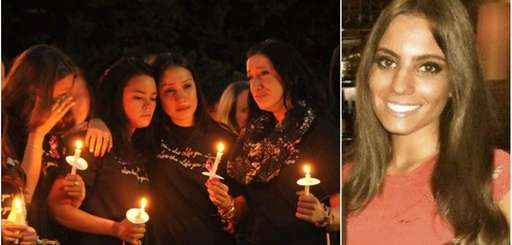 Left: Hofstra University students mourn Andrea Rebello during
