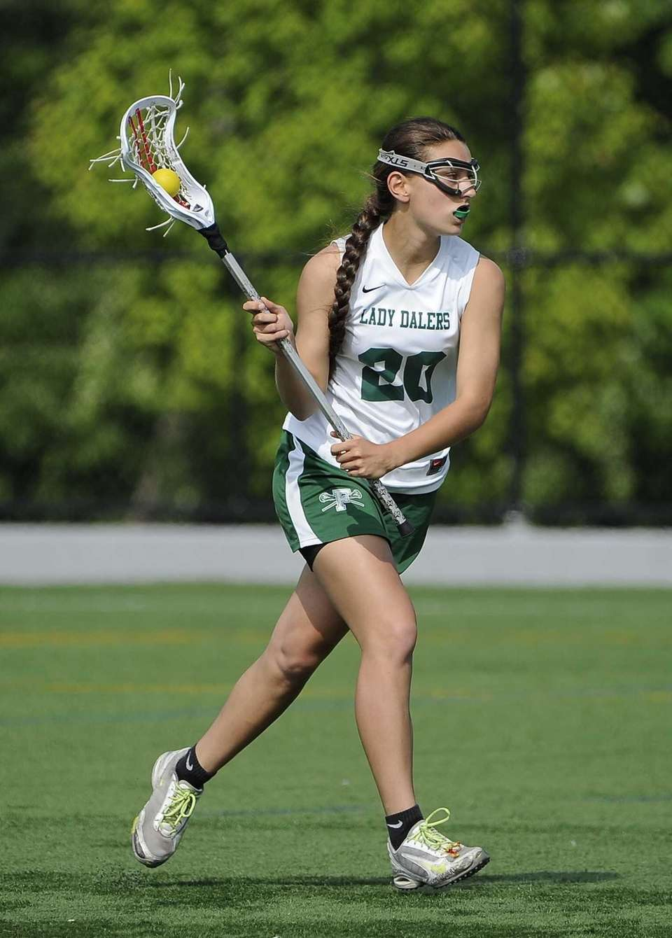 Farmingdale midfielder Nadine Hadnagy controls the ball against