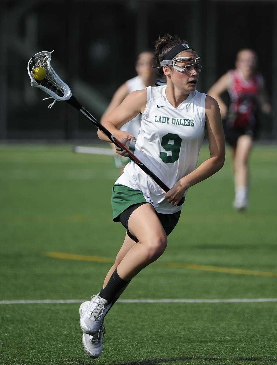 Farmingdale attacker Brenna Weill drives the ball against
