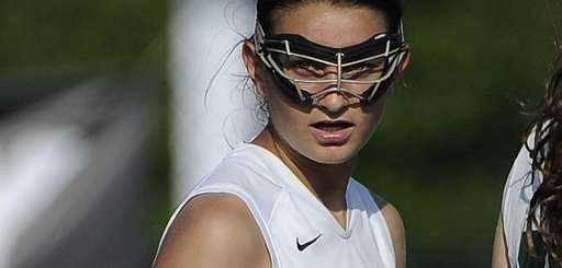 Farmingdale midfielder Nadine Hadnagy looks back after she