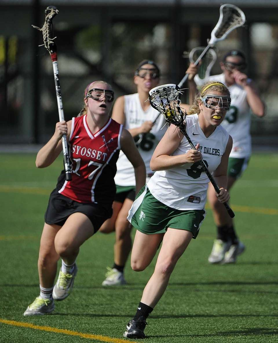 Farmingdale attacker Brenna Weill drives the ball ahead