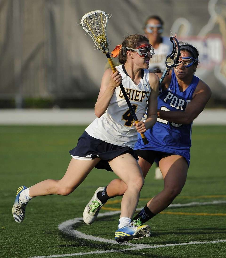 Massapequa midfielder Kristin Yevoli drives the ball defended