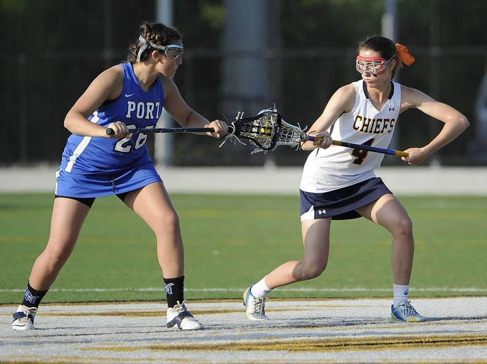 Massapequa midfielder Kristin Yevoli and Port Washington defender