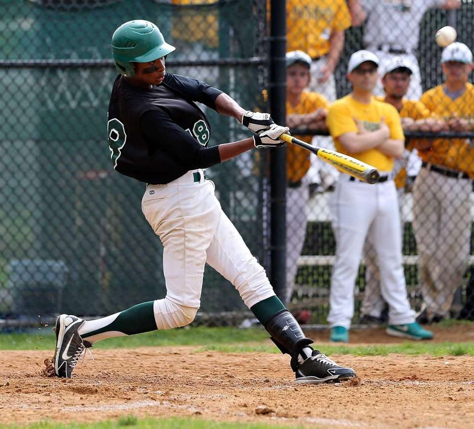 Longwood's Aaron Floyd takes a swing during a