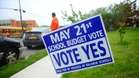 "A sign urging for a ""yes"" vote across from Baldwin Middle School as Long Islanders prepare vote tomorrow on school budget and board elections. (May 20, 2013)"