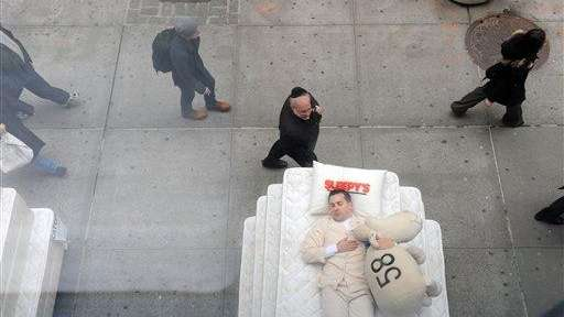Sleepy's placed a stack of mattresses on Fifth